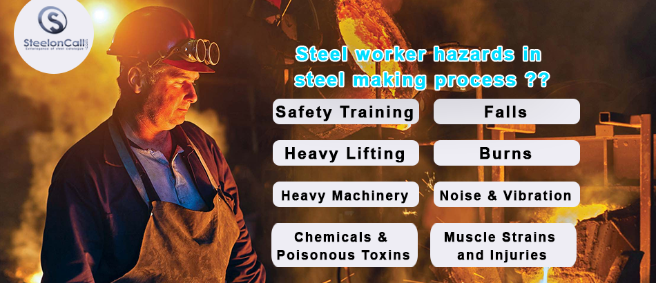 Steel worker hazards in steel making process